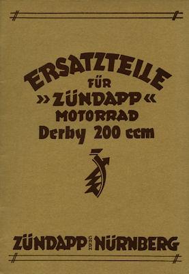 Zündapp Derby 200 ccm Ersatzteilliste ca. 1933