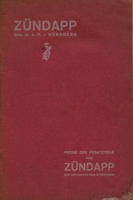 Zündapp Mod. 2, Mod. 2 GS, Mod. 3 GS u. K 249 Ersatzteillist-Preisliste ca. 1924