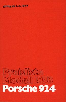 Porsche 924 Preisliste 1978