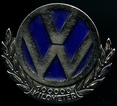 Plakette VW 100 000 km 1960er Jahre