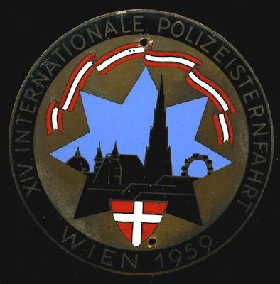 Plakette 14. Int. Polizei Sternfahrt Wien 1959