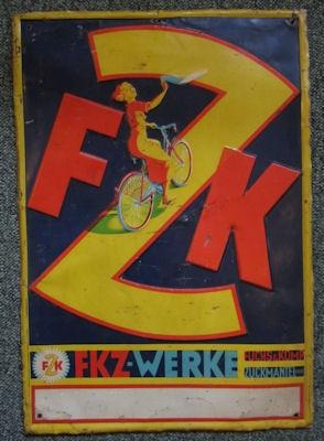 F Z K Fahrrad Blechschild 1930er Jahre