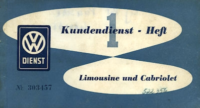 VW Käfer Kundendienst-Heft 1 6.1953