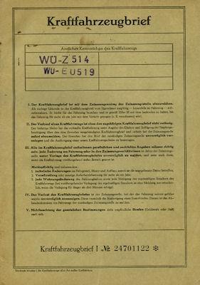 NSU 41 Sport-Prinz Original Fahrzeugbrief 1962