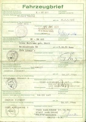 Opel Kadett C Original Fahrzeugbrief 1979