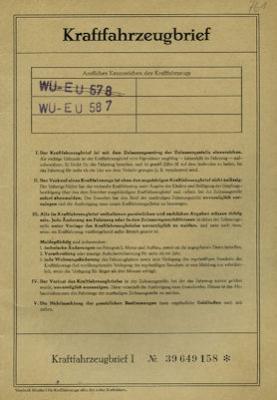 Opel Rekord C Original Fahrzeugbrief 1970