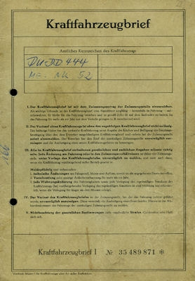 Opel Rekord C Original Fahrzeugbrief 1968