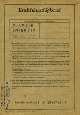 Opel Rekord C Original Fahrzeugbrief 1967