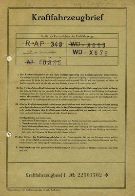 Opel Rekord P 1 Original Fahrzeugbrief 1960