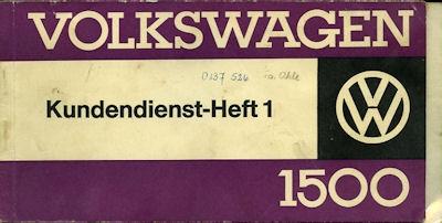 VW 1500 Kundendienst Heft 1963