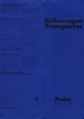 VW T 2 Transporter Preisliste 1978