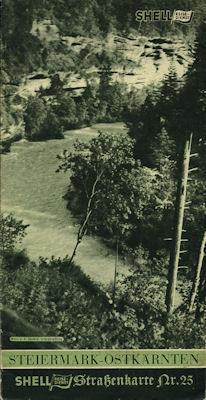 Shell Straßenkarte 25 Steiermark-Ostkärnten 1930er Jahre