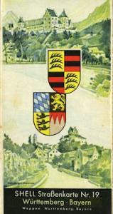 Shell Straßenkarte 19 Württemberg Bayern 1930er Jahre