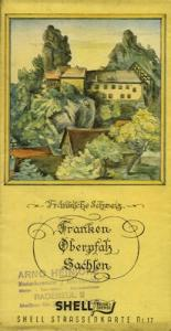 Shell Straßenkarte 17 Franken Oberpfalz Sachsen 1930er Jahre