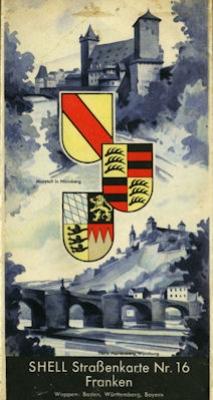 Shell Straßenkarte 16 Franken 1930er Jahre