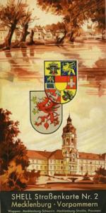 Shell Straßenkarte 2 Mecklenburg-Vorpommern 1930er Jahre