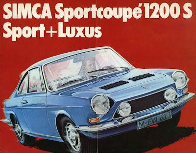 Simca 1200 S Sport + Luxus Prospekt ca. 1967