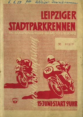 Programm Leipziger Stadtparkrennen 15.6.1958
