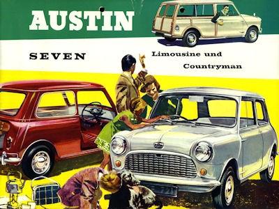 Austin Seven (Mini) Limousine und Countryman Prospekt ca. 1962