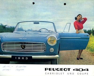 Peugeot 404 Cabriolet und Coupé Prospekt 1963