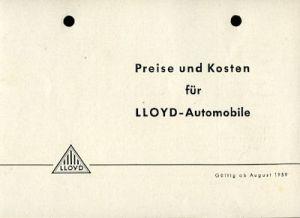 Lloyd Arabella Preisliste 1.1960