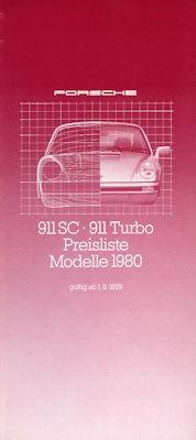 Porsche 911 Preisliste 8.1979