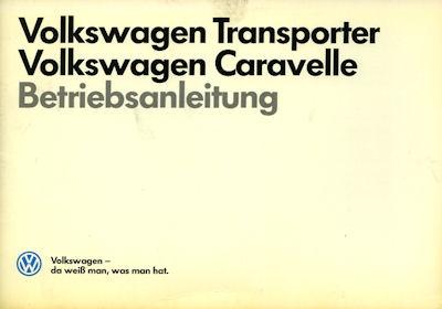 VW T 3 Bedienungsanleitung 7.1987