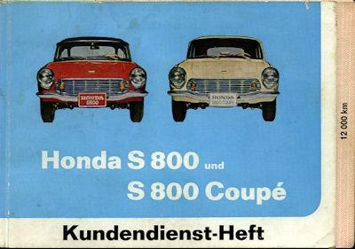 Honda S 800 / Coupè Kundendienstheft 1968