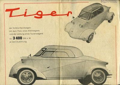 Messerschmitt Tiger Prospekt 1950er Jahre