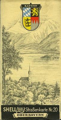 Shell Straßenkarte 20 Oberbayern 1930er Jahre