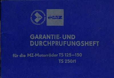 MZ TS 125 150 und 250/1 Garantieheft 1980