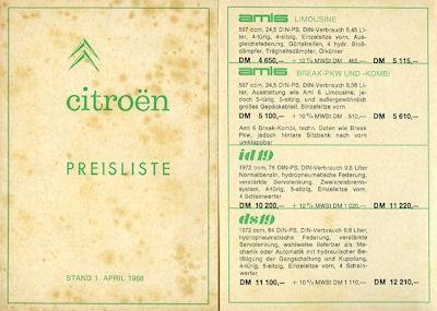 Citroen Preisliste 4.1968