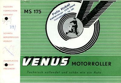 Venus MS 175 Motorroller Prospekt 1950er Jahre