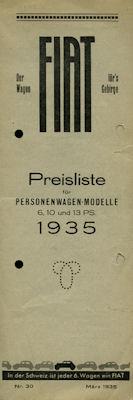 Fiat Preisliste Schweiz Nr. 30 1935