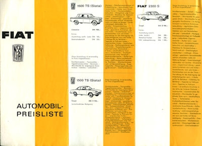 NSU-Fiat Preisliste 8.1964