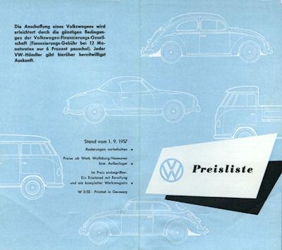 VW Preisliste 9.1957