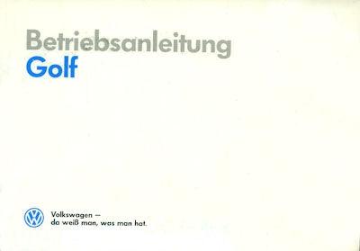 VW Golf 2 Bedienungsanleitung 1990