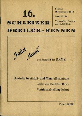 Programm 16. Schleizer Dreieck-Rennen 18.9.1949
