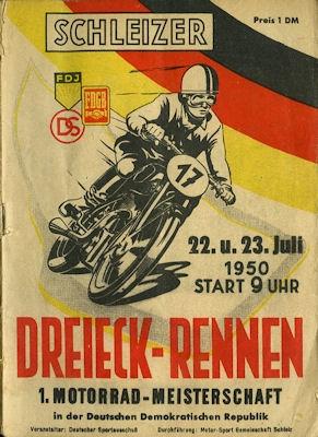 Programm 17. Schleizer Dreieck-Rennen 22.-23.7.1950