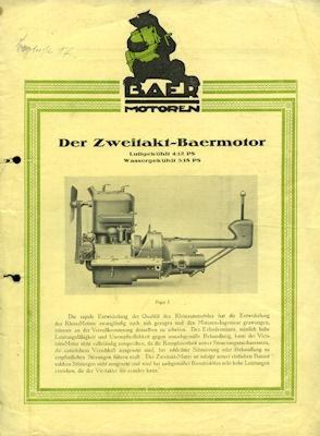 Baer Zweitakt Motoren Prospekt ca. 1923