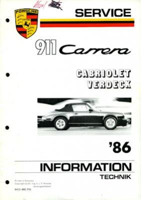 Porsche 911 Carrera Cabriolet Verdeck Kundendienst Information 1986