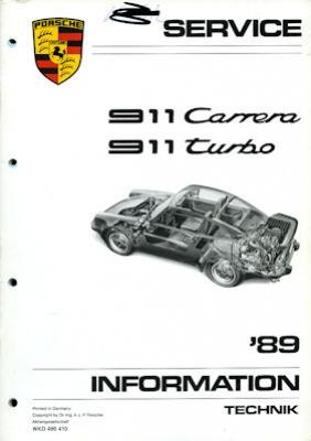 Porsche 911 Carrera Turbo Kundendienst Information Modell 1989