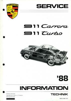 Porsche 911 Carrera Turbo Kundendienst Information Modell 1988