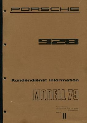 Porsche 928 Kundendienst Information 1979 Band 2