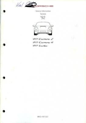 Porsche 911 Carrera 2/4 Turbo Kundendienst Information Modell 1992