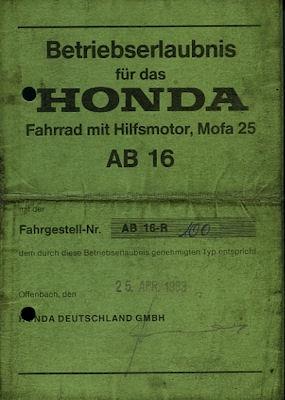 Honda Mofa PXL Betriebserlaubnis 1974
