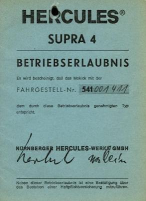 Hercules Supra 4 Betriebserlaubnis 1978