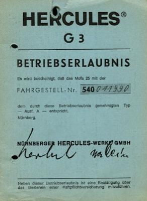 Hercules Mofa G 3 Betriebserlaubnis 1976