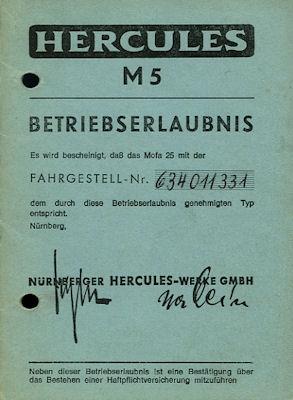Hercules Mofa M 5 Betriebserlaubnis 1974