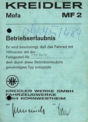 Kreidler Mofa MF 2 Betriebserlaubnis 4.1974